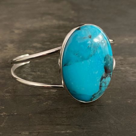 Anhui Turquoise Large Oval Split Cuff