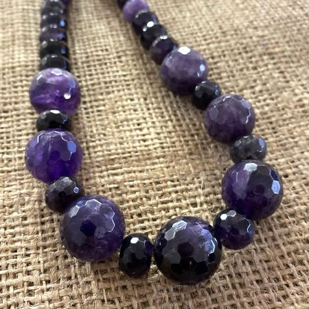 Faceted Amethyst Rounds and Rondelle Necklace