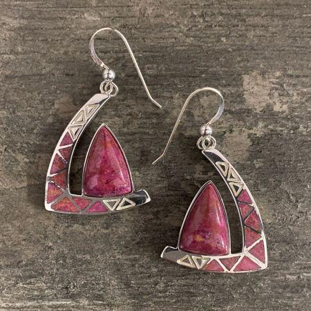 Magenta Coral Inlay Earrings