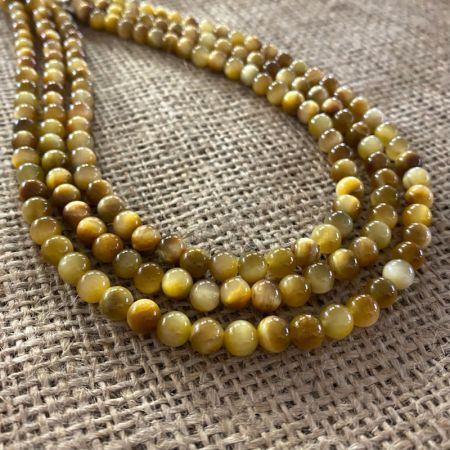 Three Strand Golden Cats Eye Necklace