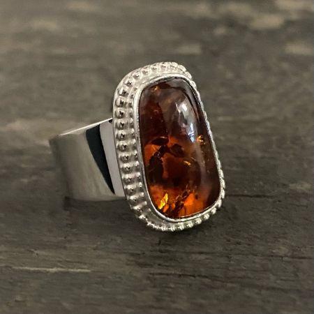 Rectangular Amber Ring - Size 6