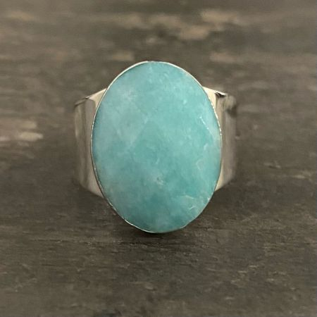 Faceted Amazonite Ring - Size 7