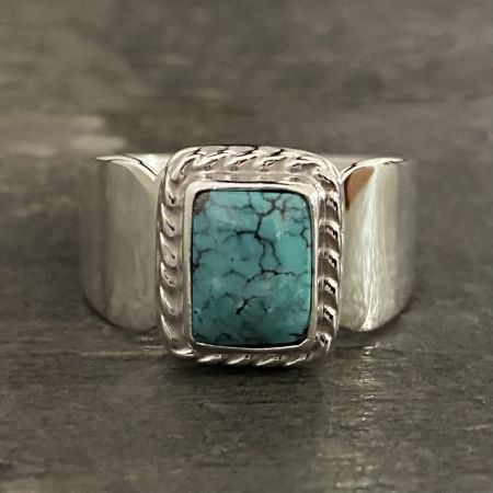 Turquoise Rectangle Ring - Size 8