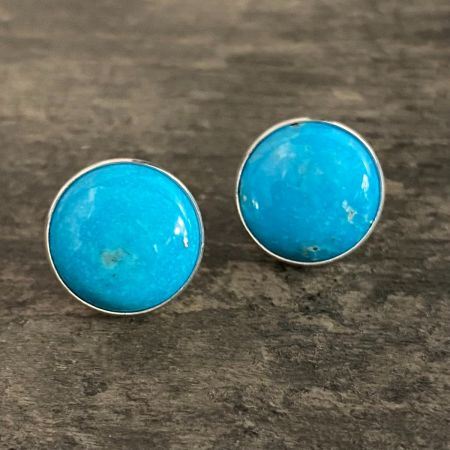 Royal Blue Turquoise Button Earrings
