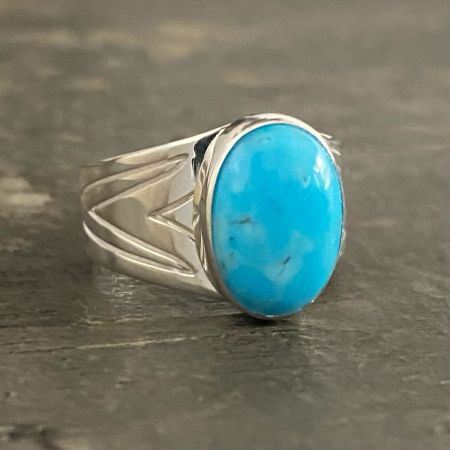 Royal Blue Turquoise Oval Ring - Size 9