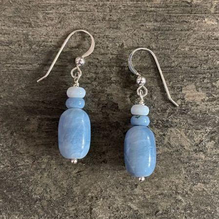 Blue Opal Dangle Earrings