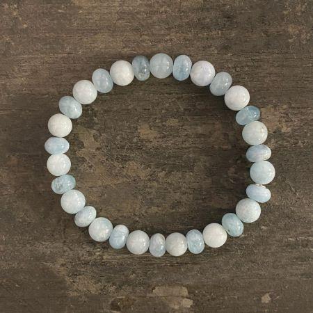 Aquamarine Rounds and Rondelles Stretch Bracelet