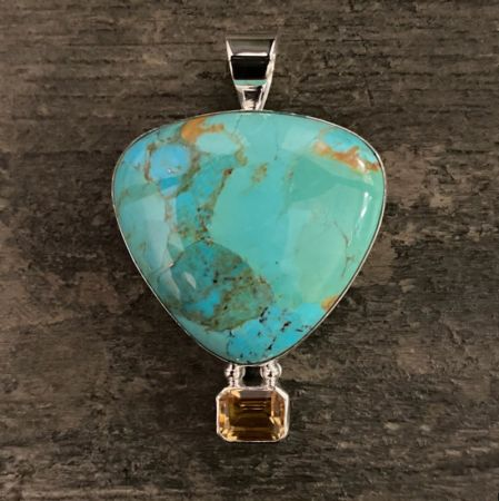 Kingman Turquoise and Citrine Hot Air Balloon Pendant