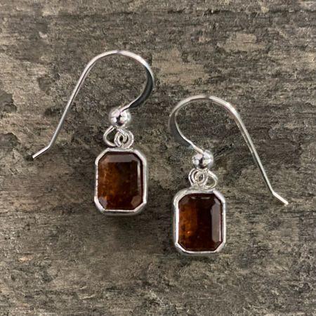 Hessonite Garnet Gemstone Earrings