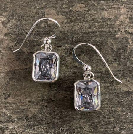 CZ Rectangle Earrings