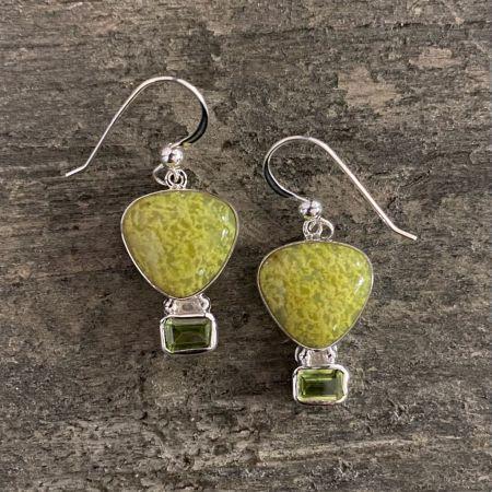 Madagascar Green Opal and Peridot Hot Air Balloon Earrings