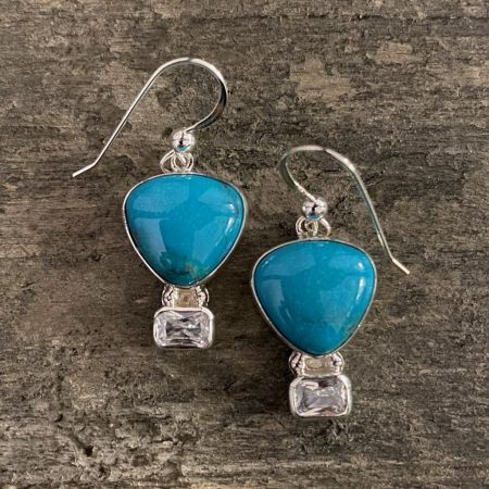 Blue Turquoise and CZ Hot Air Balloon Earrings