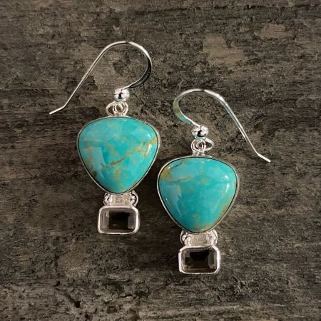 Tyrone Turquoise and Smoky Quartz Hot Air Balloon Earrings