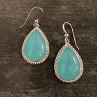 Blue Chalcedony Tear Drop Earrings