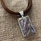 Mongolian Fluorite Pendant and Suede Necklace