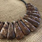Shitake Stone and Black Agate Necklace