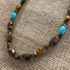 Tiger Eye and Blue Ridge Turquoise Necklace