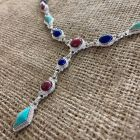 Thulite Turquoise and Lapis Link Necklace