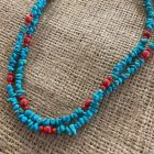 Andean Blue Turquoise and Sea Bamboo Coral Two Strand Necklace