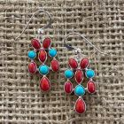 Andean Blue Turquoise and Sea Bamboo Coral Earrings