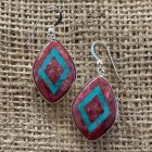 Thulite and Turquoise Dangle Earrings