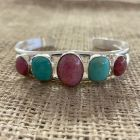 Rhodonite and Chilean Turquoise Cuff