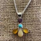 Multi Stone Flower Pendant & Chain