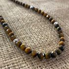Faceted Tiger Eye and Silver Bead Necklace